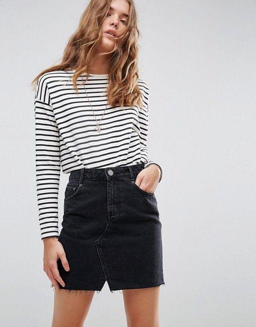 DESIGN – Pelmet denim skirt in washed-out black