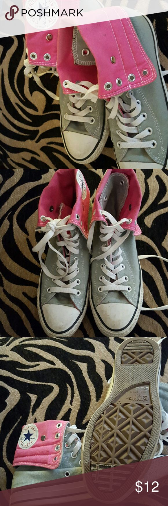 Sneakers Gray and pink high top converse Converse Shoes Sneakers