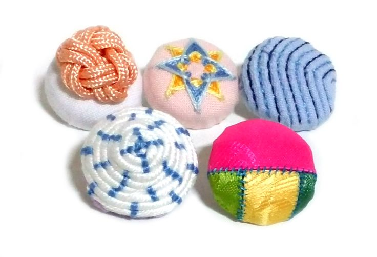 5 different fabric covered buttons by Korean traditional craft