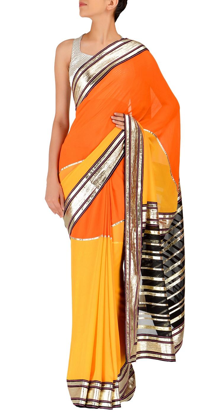 Yellow and orange color block gota saree by Abu Jani Sandeep Khosla    http://www.perniaspopupshop.com/designers-1/abu-jani-and-sandeep-khosla