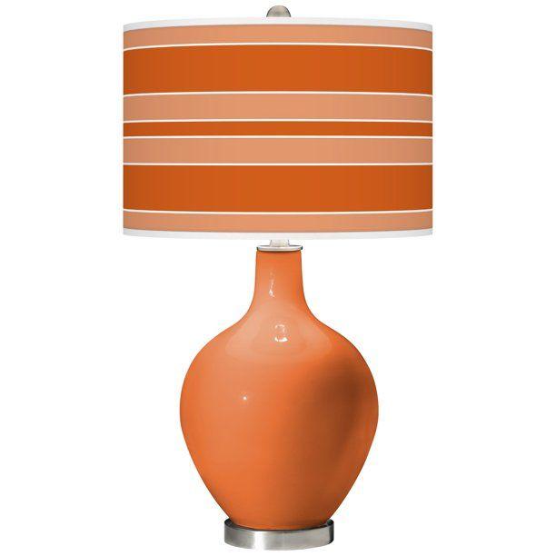 Color Plus Celosia Orange Bold Stripe Ovo Glass Table Lamp Walmart Com Walmart Com Glass Table Lamp Glass Table Glass Accent Tables