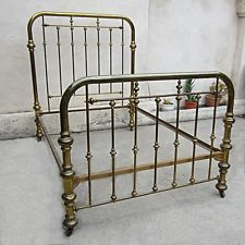 vintage brass bed two inch tubing on casters size full frame - Brass Beds