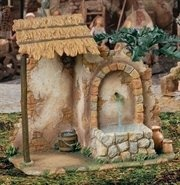 Nativity Village Wall Fountain with Water Pump