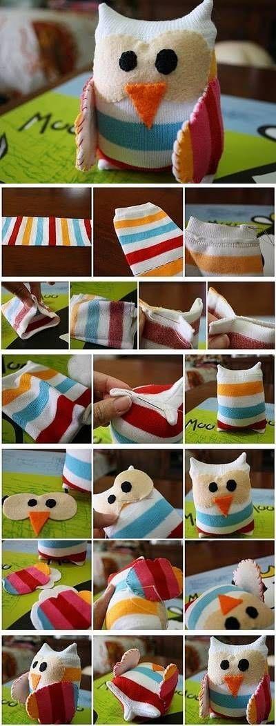 DIY Little Sock Owl DIY Projects #Stuffed Animals| http://stuffedanimals.lemoncoin.org
