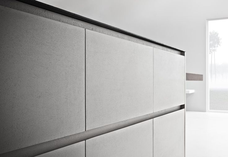 Zampieri - Line K kitchen. A detail of ice cement resin finish.