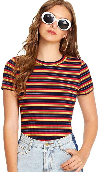 50634d5e3b Milumia Women s Casual Multi Striped Ribbed Short Sleeve Tee Knit Top  X-Large Multicolor-1  Clothing