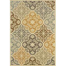 Carter Indoor/Outdoor Floral Ivory & Gray Area Rug