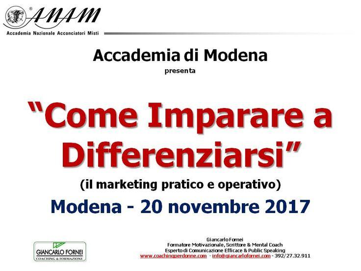 Lunedì 20 novembre, l'Accademia Anam di Modena ospita un nuovo seminario del coach toscano Giancarlo Fornei...