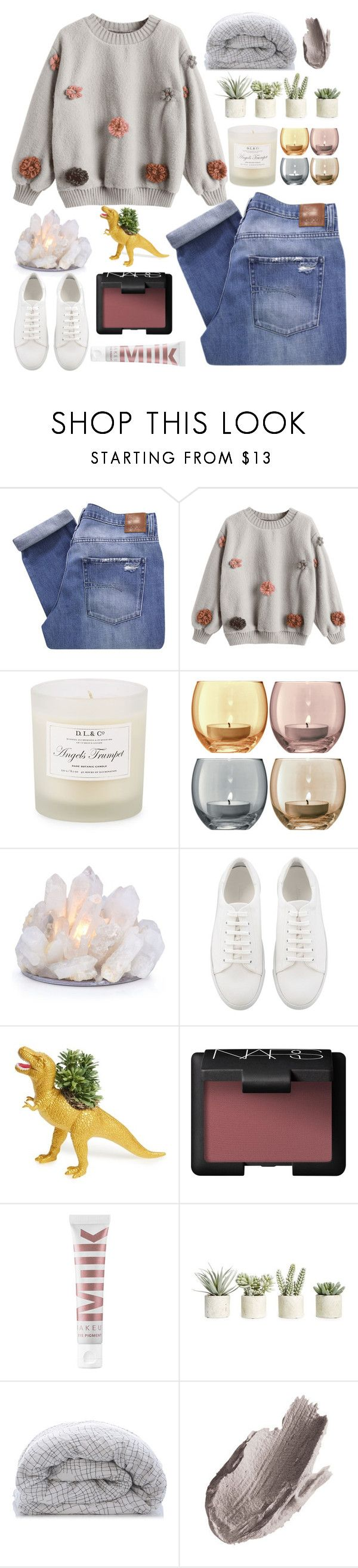 """""""xlviii. YOU'RE A MEAN ONE MR. GRINCH"""" by not-an-apology ❤ liked on Polyvore featuring Nobody Denim, D.L. & Co., LSA International, The Plaid Pigeon, NARS Cosmetics, MILK MAKEUP, Allstate Floral, La Prairie and naasimplesets"""