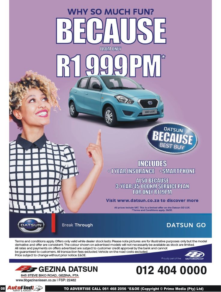 #BB #Gezina #Datsun !! Datsun Go From ONLY R1 999PM* Includes: 1 Year Insurance Smartphone 3 Year/45 000Km Service Plan for only R199PM. Don't miss out !! Contact us today on 012 404 0000 for more information :D *Terms and Conditions Apply. #Autofind