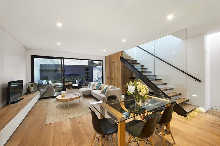 Timber flooring used to line top of entertainment unit. Albert Park Renovation by design by t
