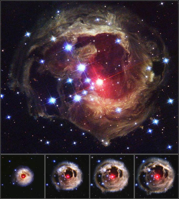 "This image shows the spectacular stellar outburst of V838 Monocerotis in 2002. Scientists now suspect the outburst was caused by a so-called ""common-envelope event,"" an outburst from two stars sharing a gas shell. Image released Jan. 24, 2013. CREDIT: NASA, ESA and The Hubble Heritage Team"