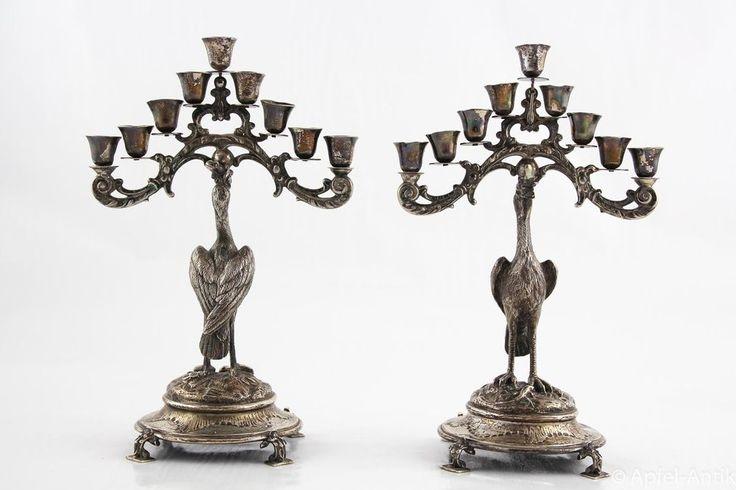 JÜDISCHE CHANUKKA LEUCHTER Wien um 1870 - JEWISH CANDELIERE Vienna around 1870 in Antiquitäten & Kunst, Silber, Silber, 800er- 925er   eBay!