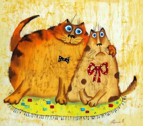 Шелковые коты художницы Елены Разиной :: Коты и кошки - рисунок, графика, живопись