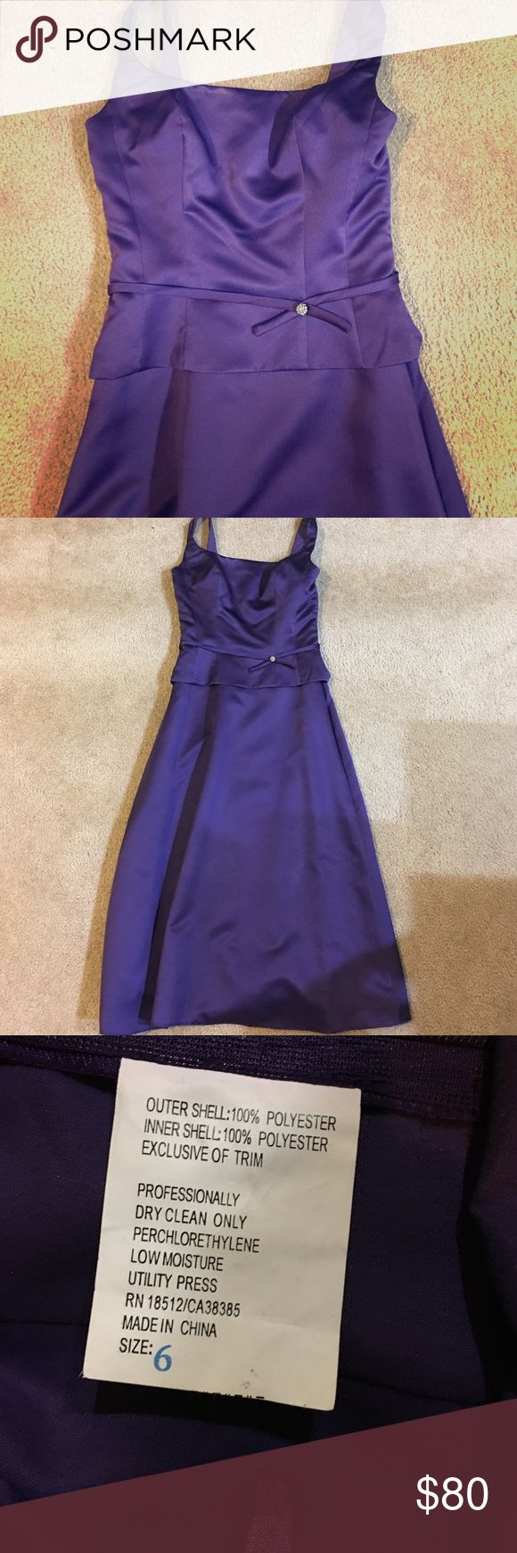 rich purple tea-length bridesmaid gown Only worn once! Rich purple sateen midi length gown with sparkle detail at waist belt. Skirt is approx 30 inches from the waist, thick straps make it easy to wear a bra! Dresses Midi