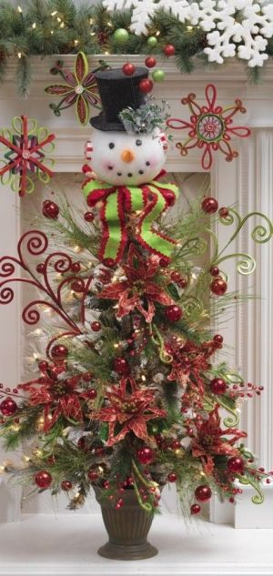 Snowman and Poinsettia Snowdoodles Christmas Tree by Luxury Fashion & Accessories Boutique