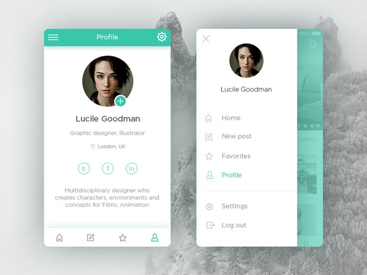 Profile and side panel menu by Stepan Dihich