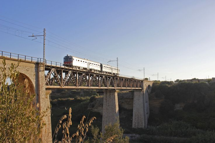 """I binari della """"Ferrovia dei Templi"""", da Agrigento a Tempio di Vulcano, durante la  corsa inaugurale dei viaggi estivi che si è svolta sabato 12 luglio. In viaggio, una delle storiche automotrici ALn668.1615 e 1616, costruite nel 1970 dalla FIAT per le acclivi linee siciliane e restaurate con perizia dall'IMC di Palermo di Trenitalia con il contributo dell'Associazione Treno DOC."""