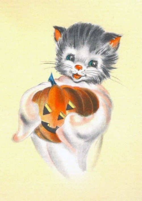 Vintage Halloween card - kitten and Jack O' Lantern