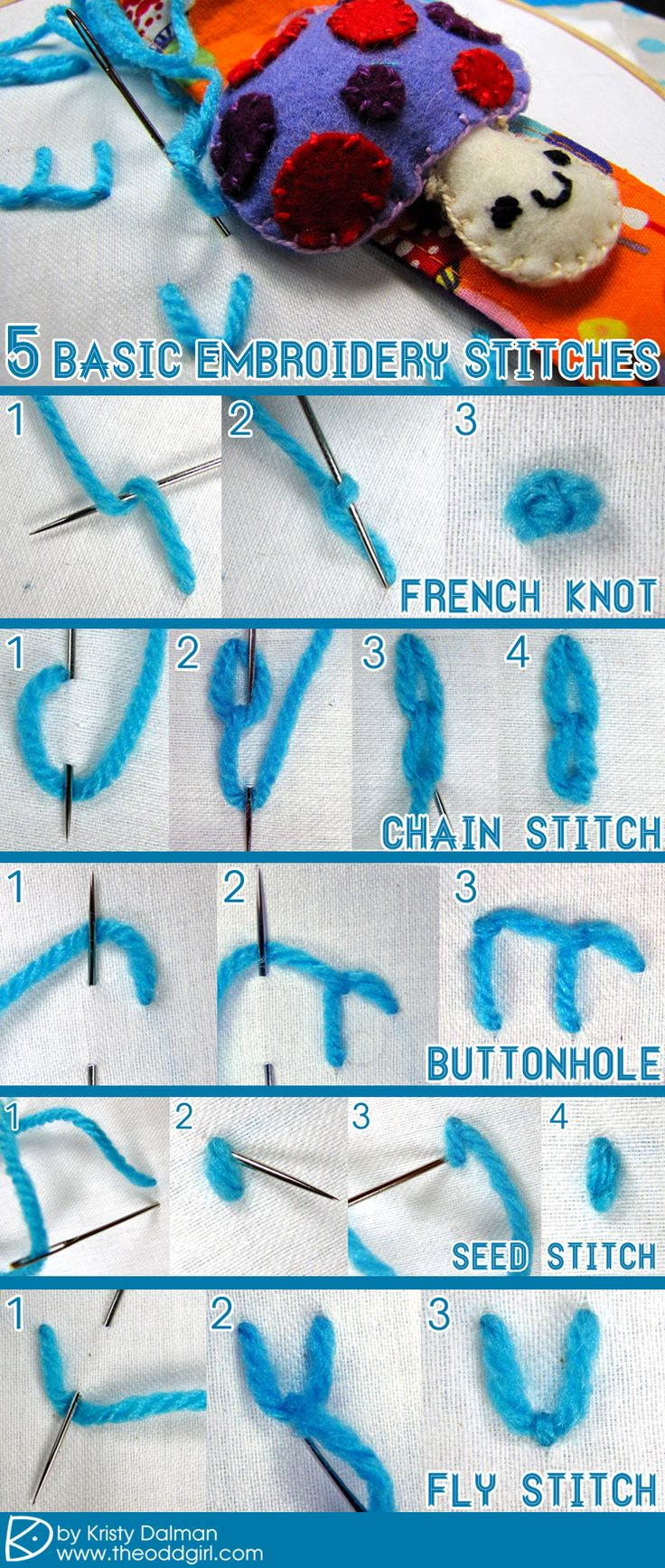 Basic embroidery stitches tutorial the odd girl crafts