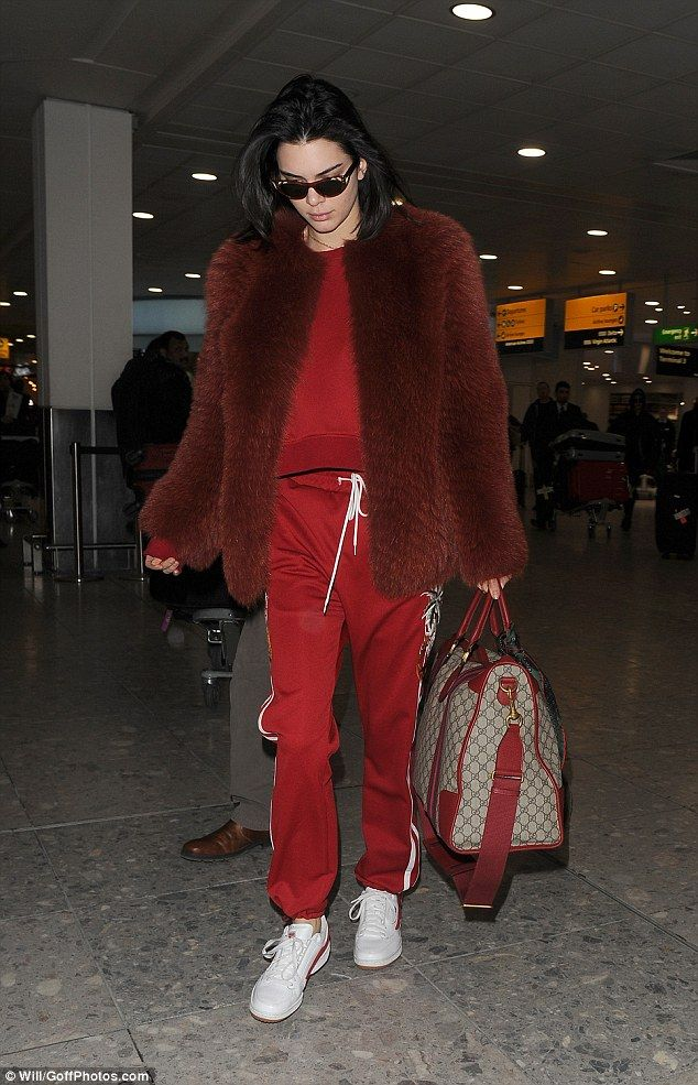 Work, work, work: There was no rest for Kendall Jenner, 21, as she jetted into Heathrow Airport on Saturday for London Fashion Week