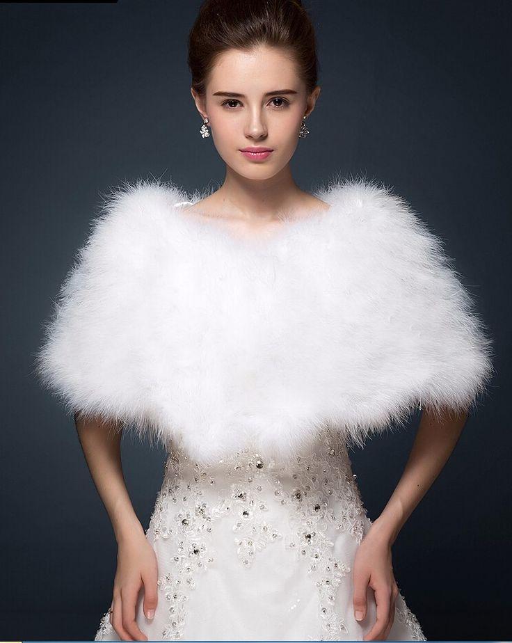 luxe blanc ivoire plumes dautruche de fourrure de mariage marie bolros veste haussement manteau - Bolero Mariage Blanc