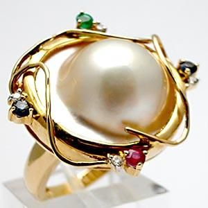 ESTATE MABE PEARL DIAMOND RUBY SAPPHIRE & EMERALD COCKTAIL RING SOLID 14K GOLD