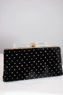 1950s black velvet clutch purse