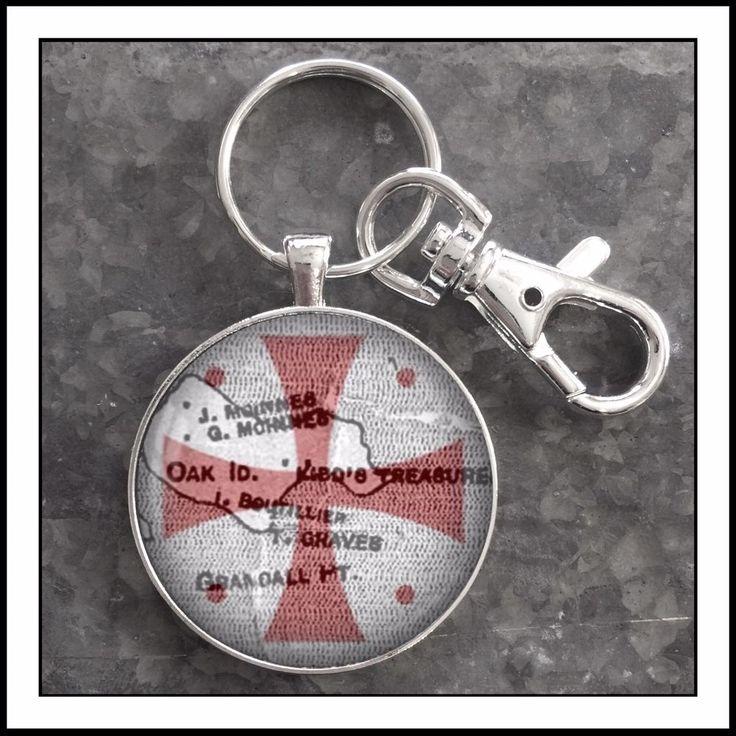 Templar Cross  with inlaid map of Oak Island Nova Scotia  photo keychain  | eBay