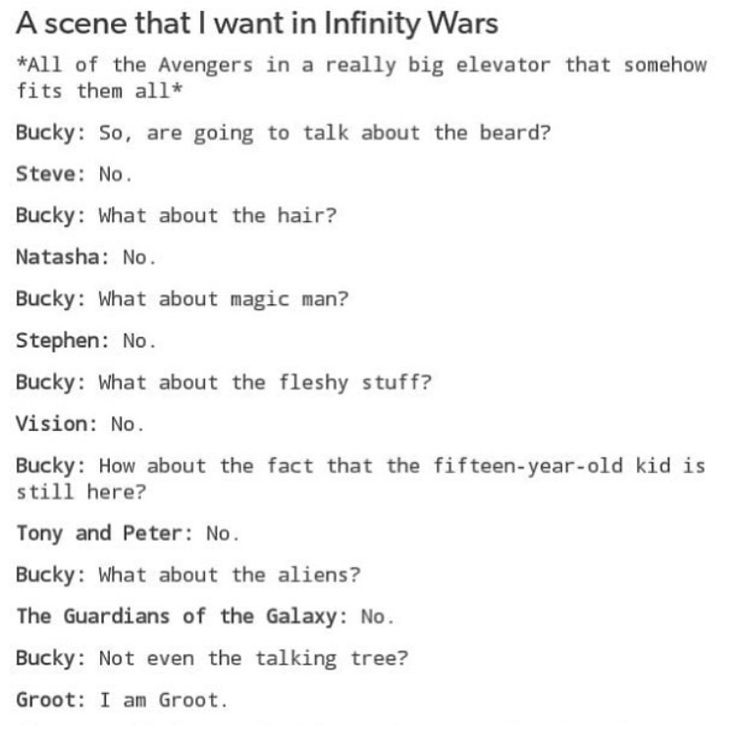 Bucky's going to be so confused when they wake him up. He'll wonder if he's having some sort of weird coma dream.