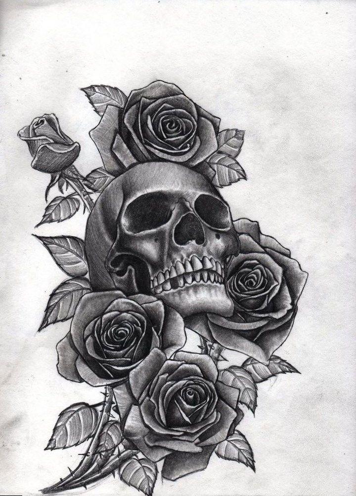 Tattoos Cost Sketch Skull Roses