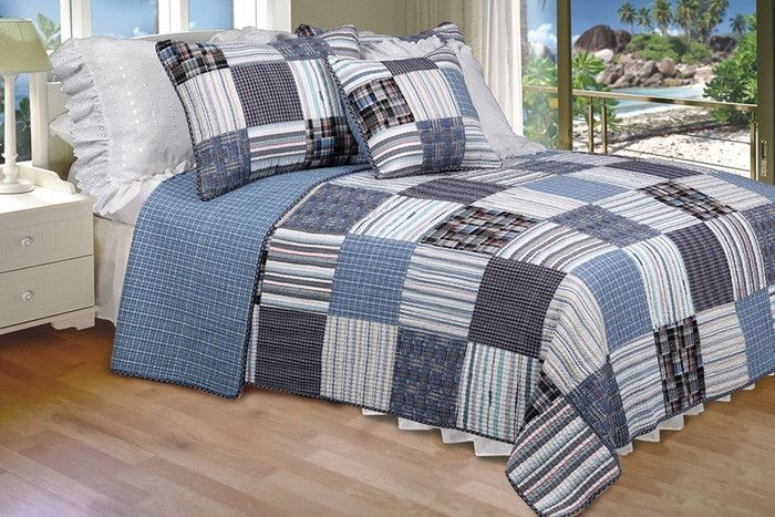Daniel 100% Cotton 2PC Vermicelli-Quilted Striped Patchwork Quilt Set (Twin Size)