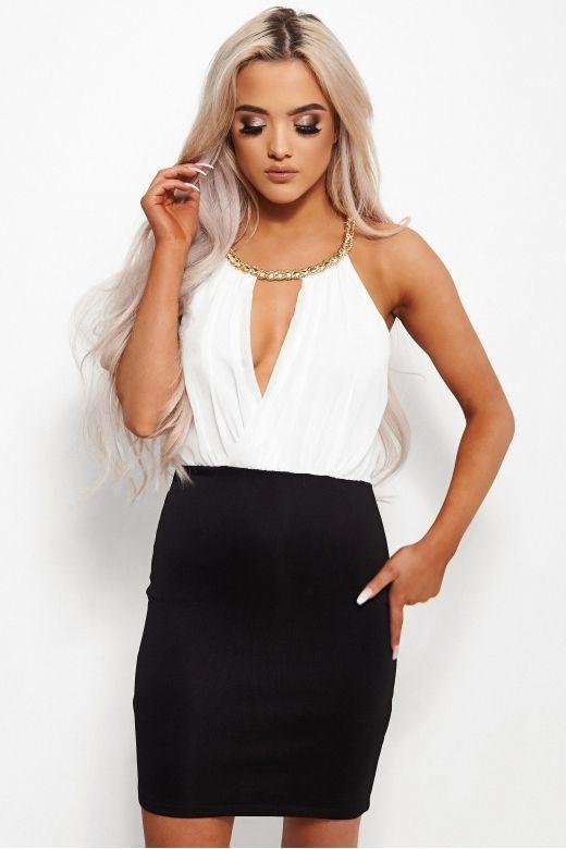 Mandalyn White Chiffon Chain Dress