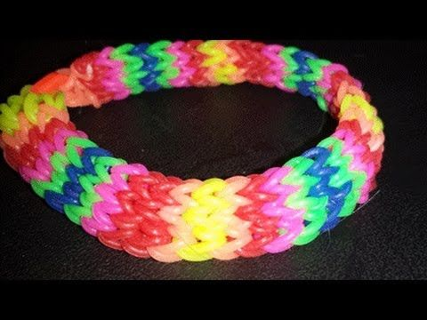 Rainbow Loom DOUBLE HEXAFISH Bracelet. Designed and loomed by Cheryl Mayberry. Click photo for YouTube tutorial. 12/16/13.