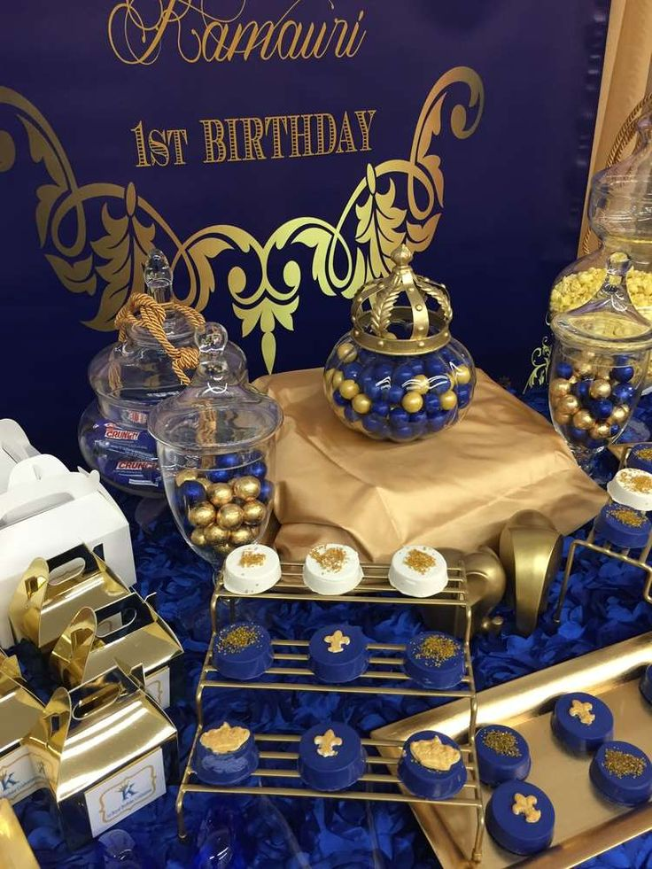 Amazing blue and gold prince birthday party! See more party ideas at CatchMyParty.com!