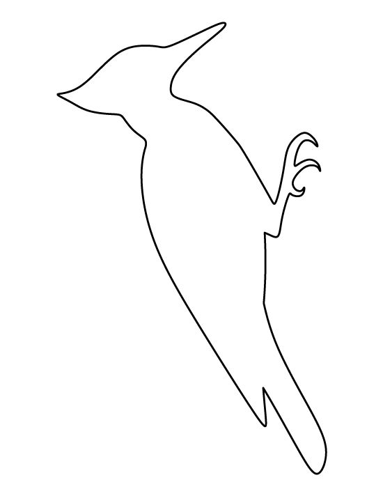 Woodpecker pattern. Use the printable outline for crafts, creating stencils, scrapbooking, and more. Free PDF template to download and print at http://patternuniverse.com/download/woodpecker-pattern/