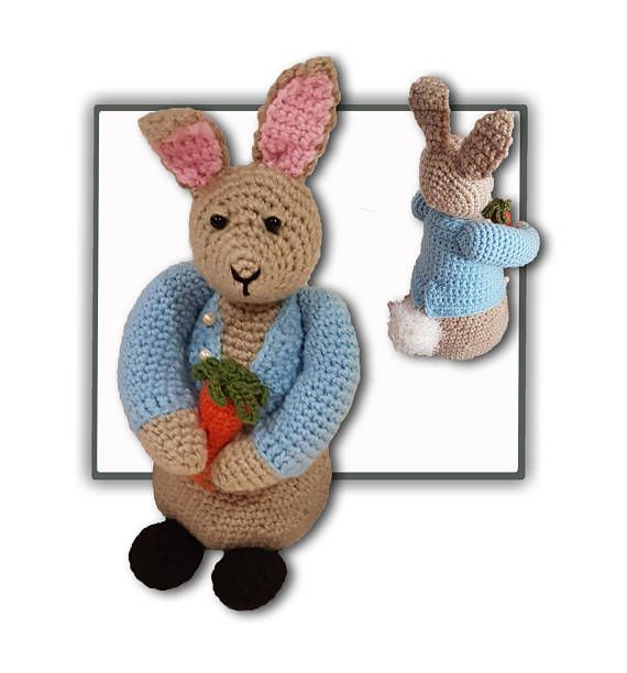 Peter Bunny Rabbit toy Crochet Pattern also found at the website www.tbeecosy.com