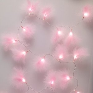 Pink fluffy fairy lights