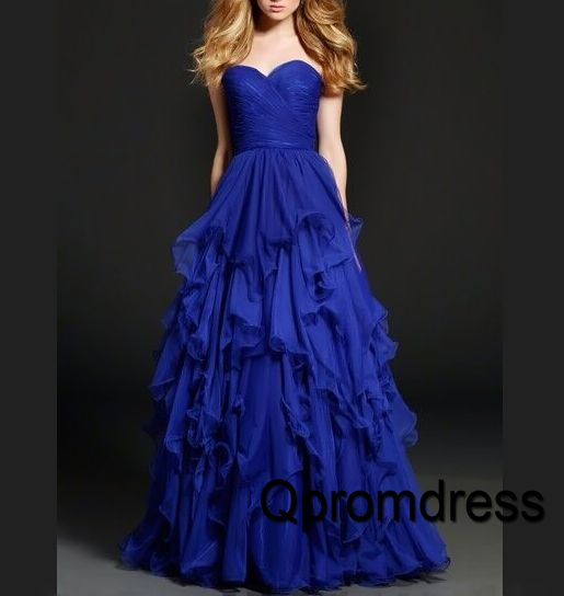 Prom dresses long, ball gown, 2016 elegant layered navy blue chiffon prom dress #coniefox #2016prom