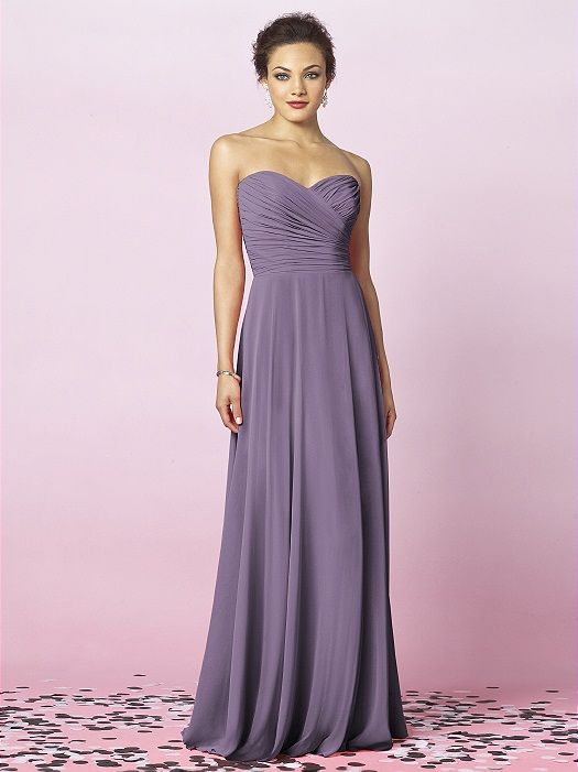 Strapless full length lux chiffon dress with draped bodice and full skirt. Sizes available 00-30W, and 00-30W extra length.  http://www.dessy.com/dresses/bridesmaid/6639/