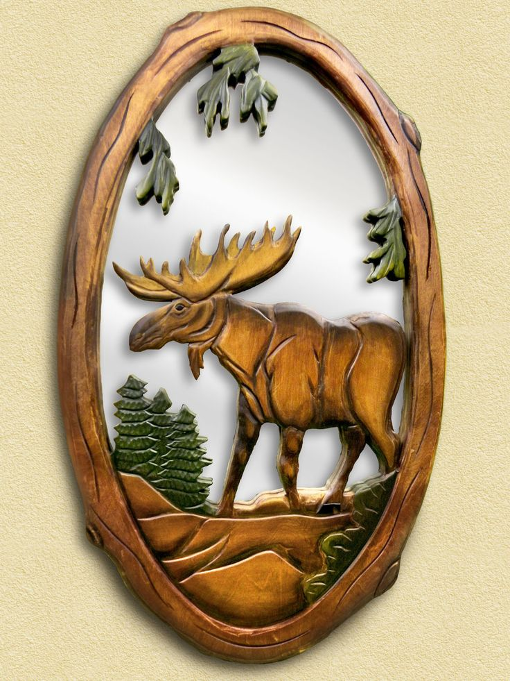 Moose hand carved wooden mirror and