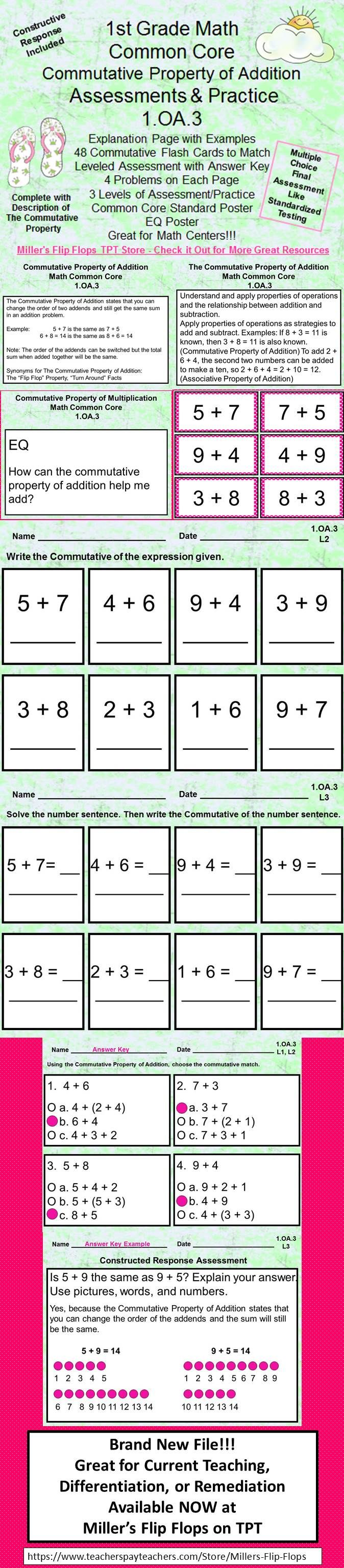 Brand New File!!! Commutative Property of Addition - 1.OA.3, Common Core Math Practice and Assessments. Includes: Explanation Page with Examples, 48 Commutative Flash Cards to Match, Leveled Assessments with Answer Key, 4 Problems on Each Page, 3 Levels of Assessment/Practice, Constructed Response Assessment, Common Core Standard Poster, EQ Poster. GREAT for initial teaching, practice in centers, remediation, and assessment. Check it out! Karyn Miller, 3rd Grade Math Teacher-Miller's Flip…