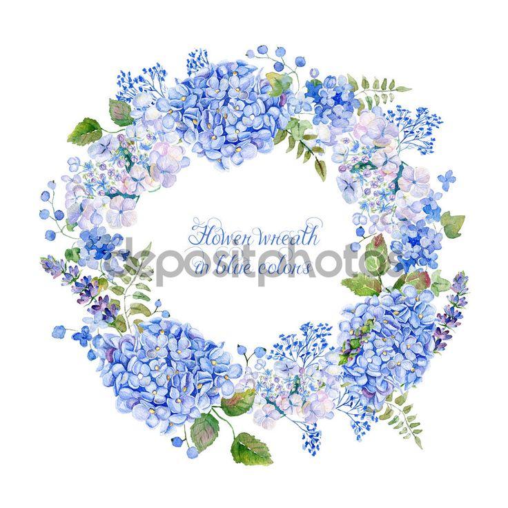 Круглая рамка синяя гортензия и другие цветы — стоковое изображение #65466123