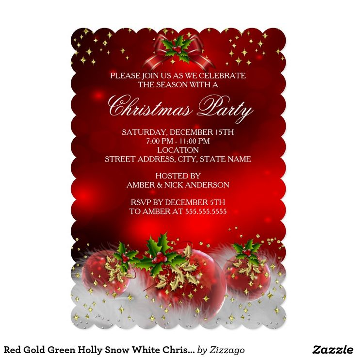 71 best christmas holiday party images on pinterest christmas red gold green holly snow white christmas party 5x7 paper invitation card stopboris Choice Image