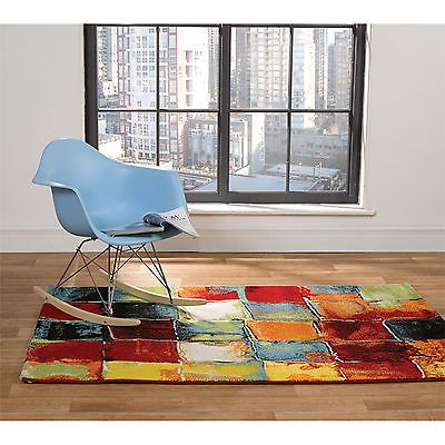 Funky Art Deco Checked Paint Carpet Rug In Bold Vibrant Multi Colours