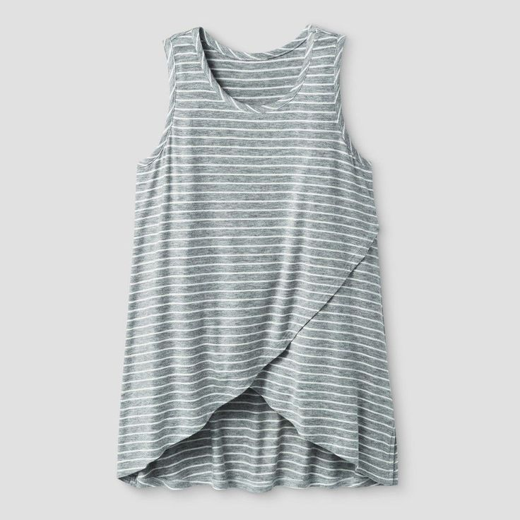 Girls' Ruffle Crossover Tank Top Stripe Art Class - Heather Grey XL, Girl's, Gray Stripe