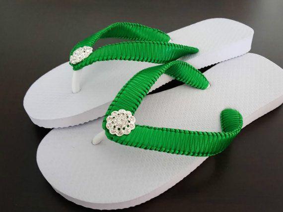 Green Bridal Flip Flops Cariris Flip Flops Emerald Green