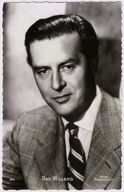 British actor and director Ray Milland (1905-1986) had a screen career that ran from 1929 to 1985. He appeared in many Hollywood movies as the archetypal, unflappable British gentleman. Milland is best remembered for his gut-wrenching, Academy Award–winning portrayal of an alcoholic writer in The Lost Weekend (1945), the murder-plotting husband in Dial M for Murder (1954), and as Oliver Barrett III in Love Story (1970).