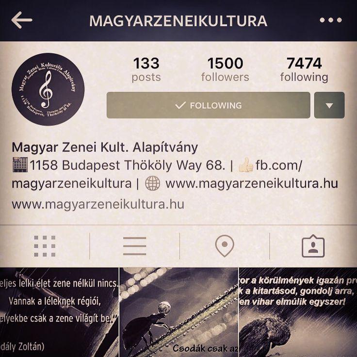 Instagram oldalunk elérte segítségetekkel az 1500 követőt!   Rettentően hálásak vagyunk, és köszönjük mindenkinek a támogatást, adományokat, segítségnyújtást, s minden civil megkeresést amelynek köszönhetően tudjuk segíteni az egyetemes magyar zenei kultúránkat, legyen az hangszer adományozás, művészek támogatása vagy akár kulturális projektek megvalósítása.  Köszönjük!   Kövessetek bennünket továbbra is: https://instagram.com/magyarzeneikultura  #instagram #followers #followme #followmeplea