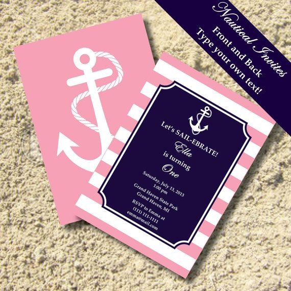 Preppy Nautical Striped Anchor Invitations - Anchor, Nautical Preppy, Pink, Navy - EDITABLE INSTANT DOWNLOAD